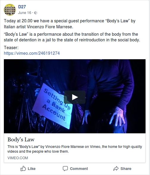 The performer Vincenzo Fiore Marrese at D27 Creative Hive presents the performance Body's Law.